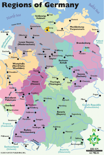 english map of germany